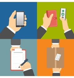 Set of hands clients purchasing vector