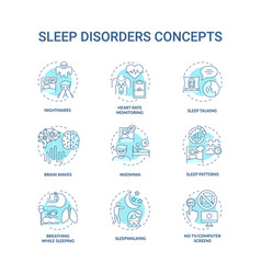 Sleep disorder turquoise concept icons set vector