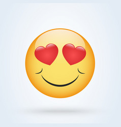 smiling emoticon face with hearts instead eyes vector image