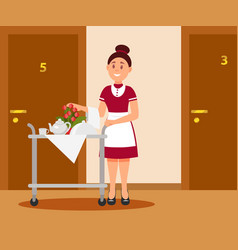 Smiling waitress with food trolley standing near vector