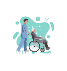 social medical worker with old man in a vector image