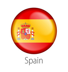 Spain round button flag vector