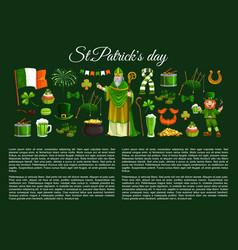 St patrick leprechaun clover and pot gold vector
