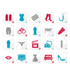 Stylized sex erotic and temptation icons vector