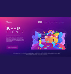 Summer picnic concept landing page vector