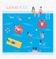 Summer pool with people and inflatable things vector