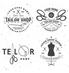 Tailor shop badge concept for shirt vector