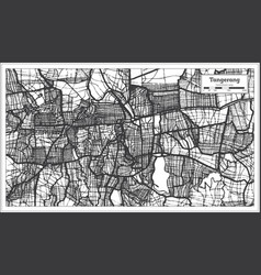 Tangerang indonesia city map in black and white vector
