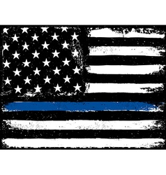 Thin Blue Line Black Flag with Police Blue Line vector image