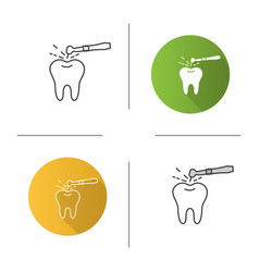 tooth drilling process icon vector image