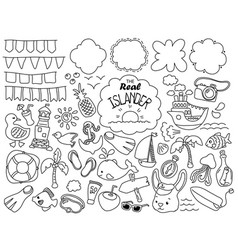 tropical island travel doodle icons and banners vector image