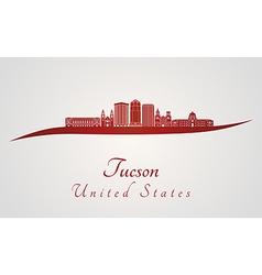 Tucson v2 skyline in red vector