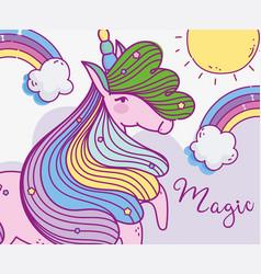 unicorn fantasy magic cartoon rainbow sun clouds vector image