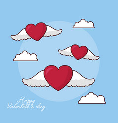 Valentines day celebration with hearts flying vector