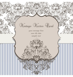 Vintage Card Damask Baroque ornament vector image