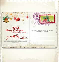 Vintage Christmas Postcard vector image