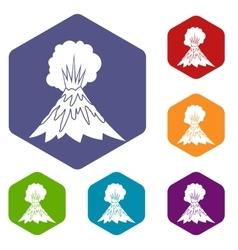 Volcano erupting icons set vector