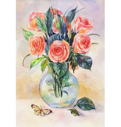 Watercolor still life with roses in a glass vase vector