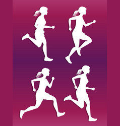 white female running silhouette set vector image