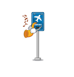 With trumpet airport sign in character shape vector