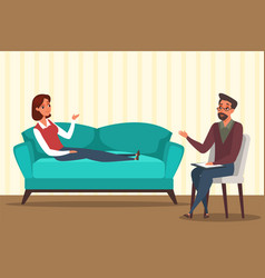 Woman in psychologist office flat vector