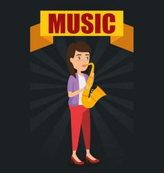 woman playing saxophone character vector image