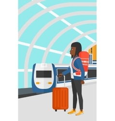 Woman with suitcase on wheels and briefcase vector image