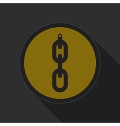 Yellow round button - hanging chain with hole icon vector