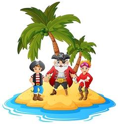 Cartoon pirate in the island vector