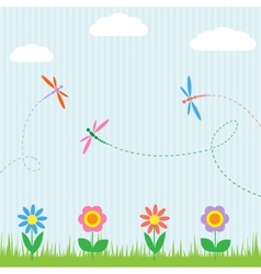Colorful dragonflies and flowers vector image