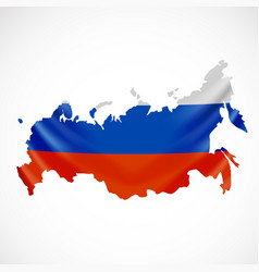 hanging russia flag in form of map russian vector image vector image