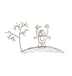 Monochrome hand drawn silhouette of bear in hill vector