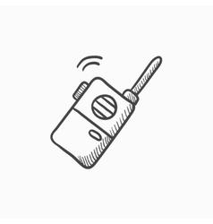 Portable radio set sketch icon vector image vector image