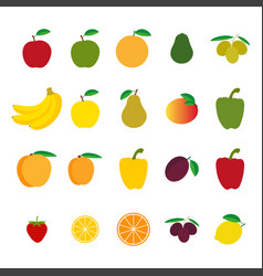 set of fruit and vegetables vector image