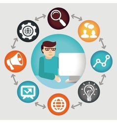 social media concept - project manager vector image vector image