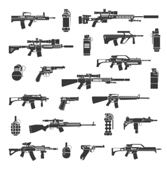 Weapon icons and military or war signs vector image vector image