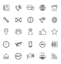 contact us line icons on white background vector image vector image