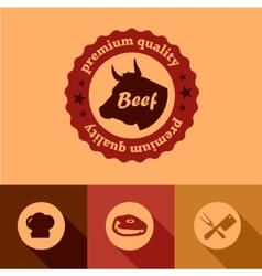flat beef design elements vector image vector image
