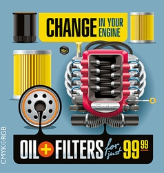 Oil and Filters Change Blue vector image vector image