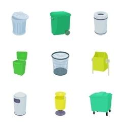 Rubbish bin icons set cartoon style vector image vector image