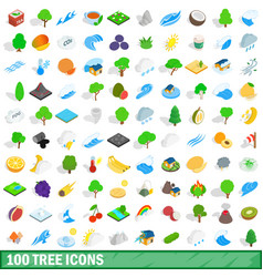 100 tree icons set isometric 3d style vector image
