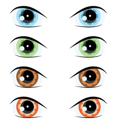 cartoon eyes of different colors set for the desig vector image vector image
