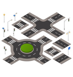 isometric crossroads set vector image