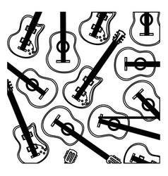 Monochrome background with electric guitars set vector