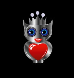 Pretty silver owl with a red heart and a crown vector