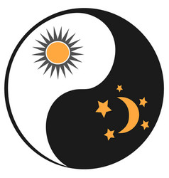 sun and moon in ying yang symbol vector image