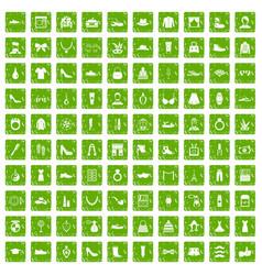 100 vogue icons set grunge green vector