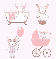 Baby bunnies collection vector image vector image