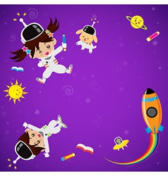 Cute children on space place vector image