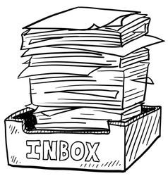 doodle paper stack inbox vector image vector image